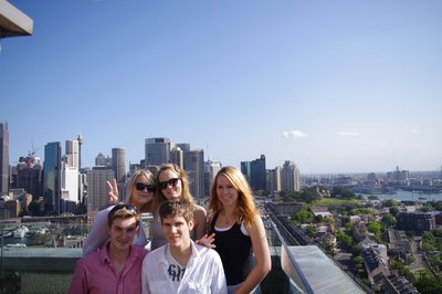 Trine, Silje, Benedicte, me and Jonas at one of the towers of the Harbour Bridge