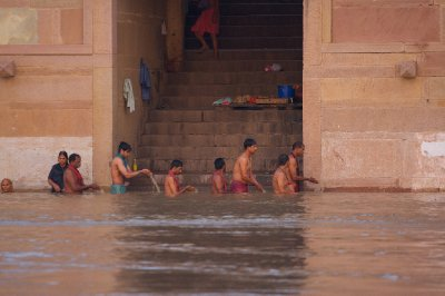 Morning cleansing at the ghats of Varanasi, India