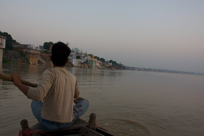 Ghats at dawn seen from the Ganges...