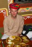 Me having a thali at Chowky Dhany, Jaipur, India