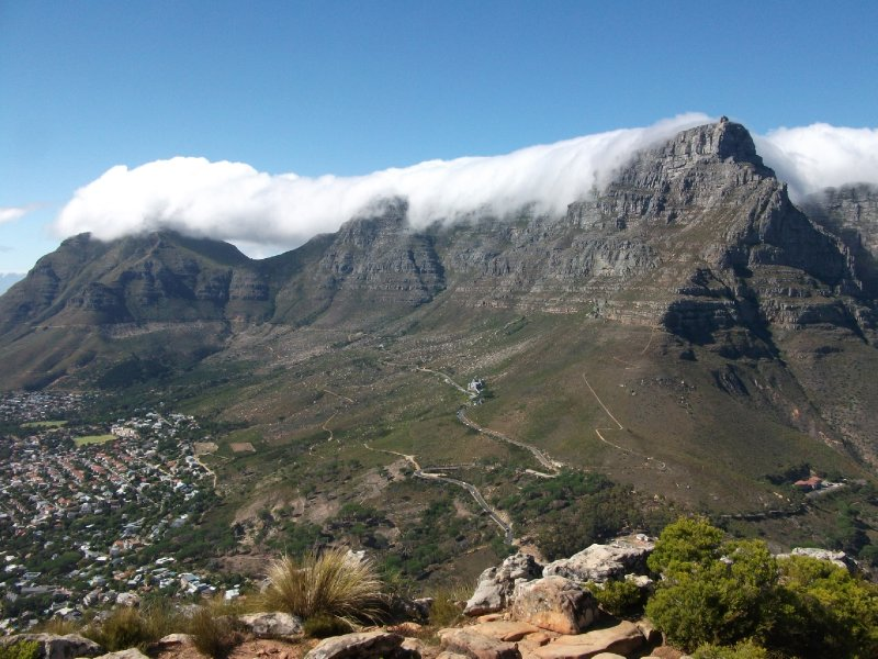 Table Mountain while hiking up Lion's Head