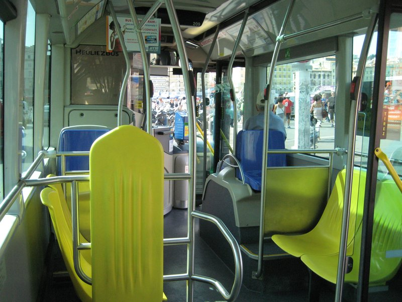 Interior of bus in Marseille