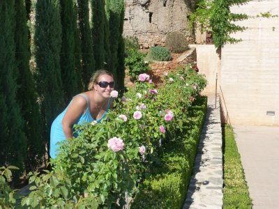 Smelling the Roses in Alhambra Gardens