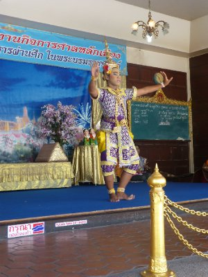 Giving thanks to deity dance at the State Temple of Bangkok