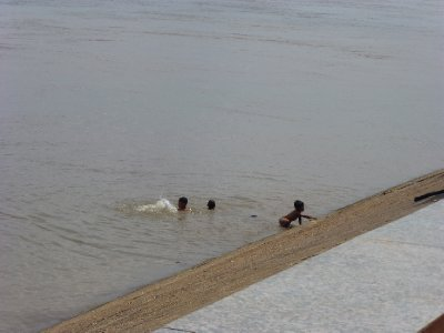 Kids playing in Mekong River