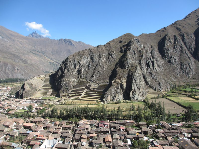 View of the city and ruins in Ollantaytambo