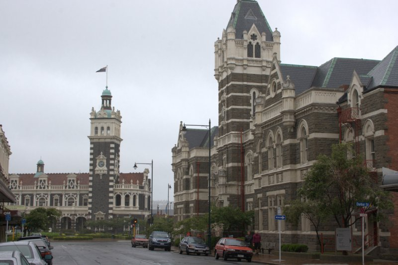 Court of Law and Railway Station in Dunedin