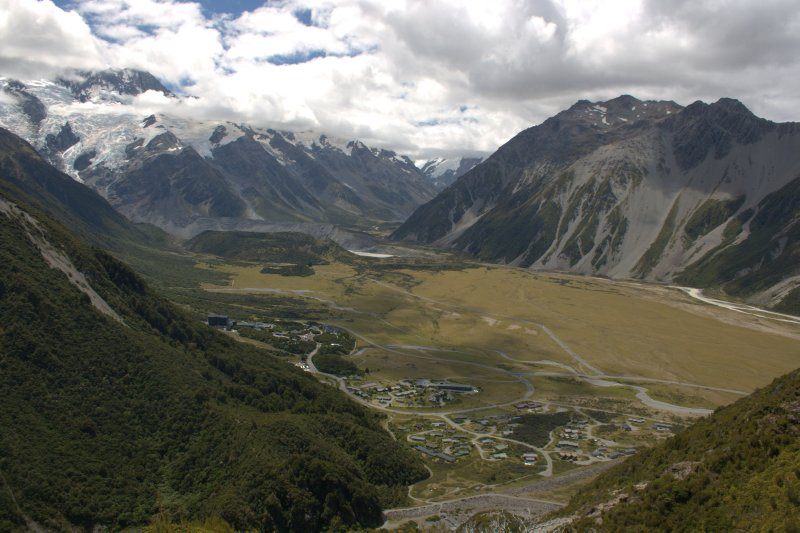 View of Mt. Cook Village from Red Tarns
