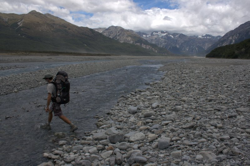 Fording the Waimakariri River