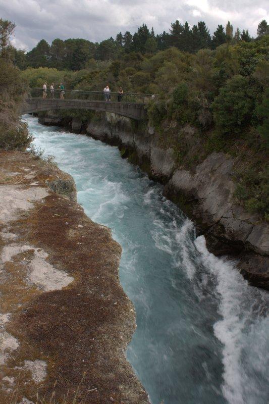 Water Rushing out of Lake Taupo before Huka Falls