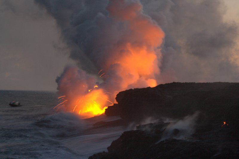 Evening Lava Flow from Kilauea Volcano
