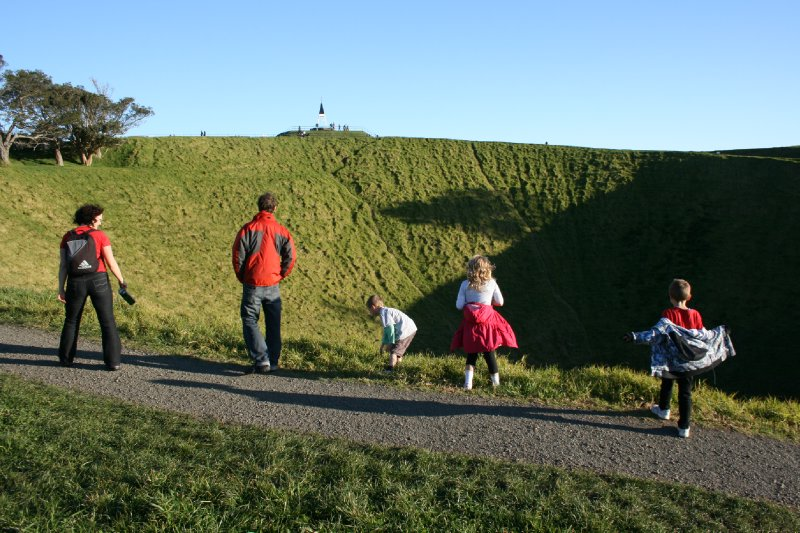 Delia, Nate and Kids at Mt Eden (Volcanic Crater)