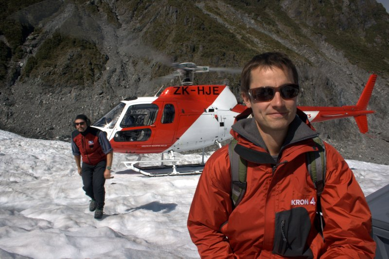 Arriving on Fox Glacier from Heli