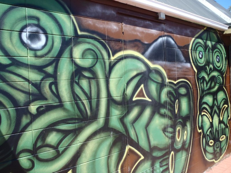 Tiki Mural in Rotorua