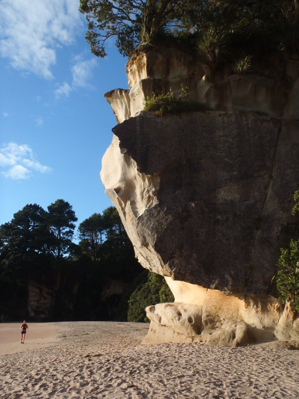 Julie under Cliffs at Cathedral Cove