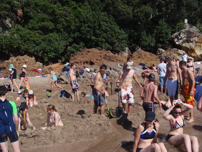 Crowds at Hot Water Beach