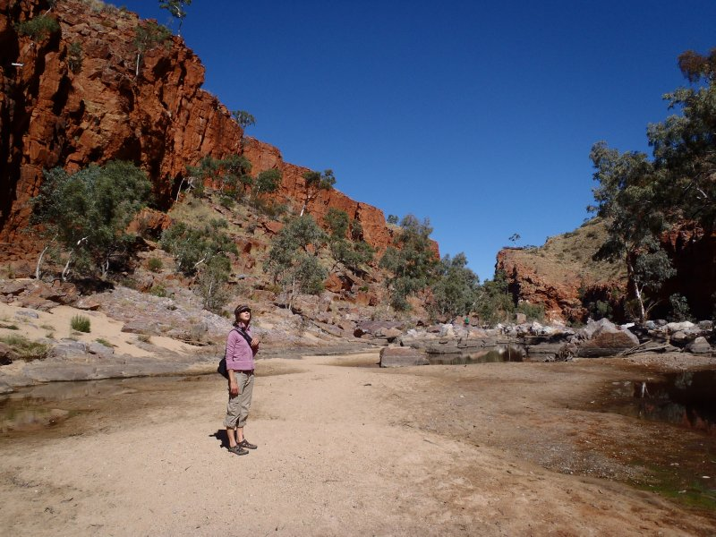Walking up Dry Riverbed in Ormiston Gorge