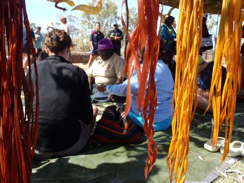 Julie Weaving Pandanus Leafs