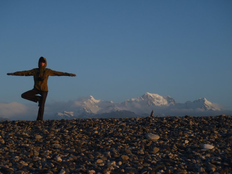 Yoga on Beach with Southern Alps