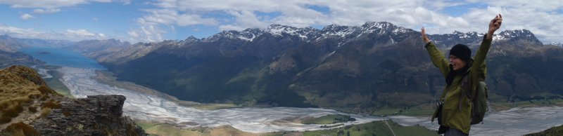 Top of Mt. Alfred looking at Dart River and Humbolt Range