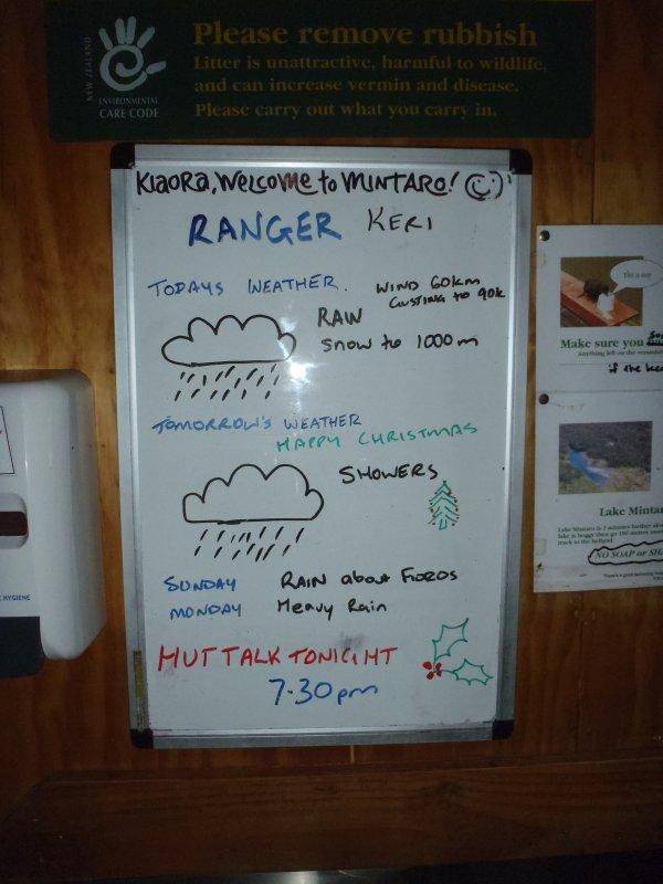 Message Board at Mintaro Hut