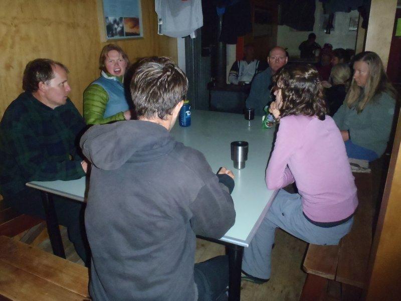 Chatting at Mintaro Hut