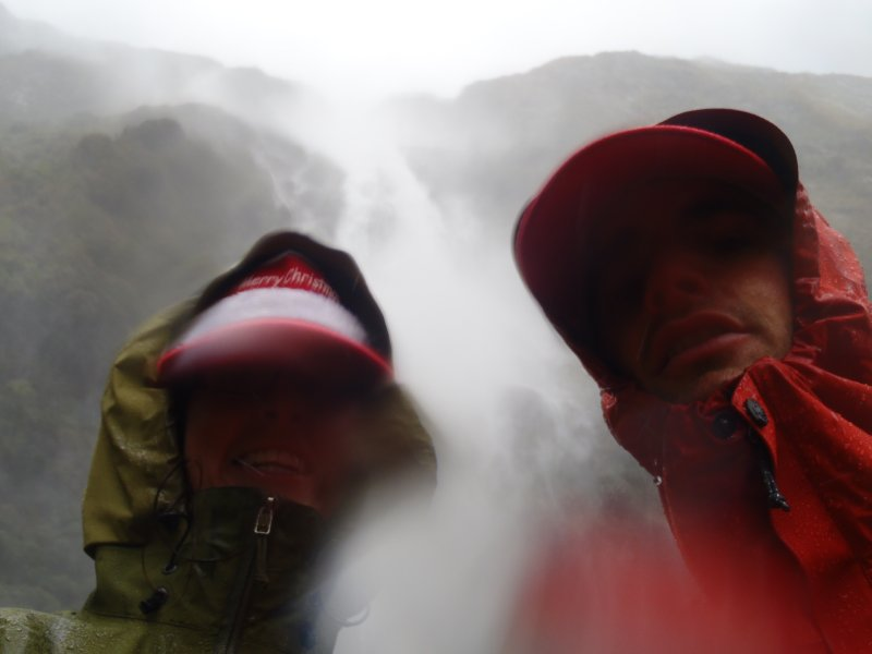 Getting Soaked under Sutherland Falls