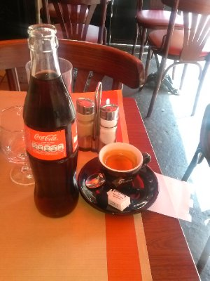 first cafe trip - day 1 - jet lag requires espresso and coke!