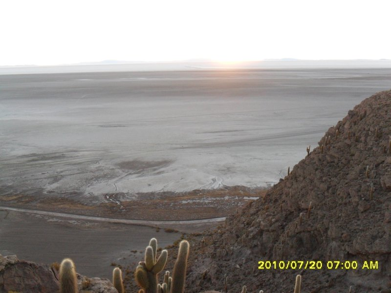 Sun rising on the Salar