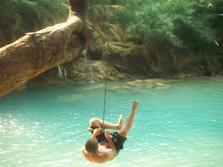 Luang Prabang Rope Swing into Natural Pool