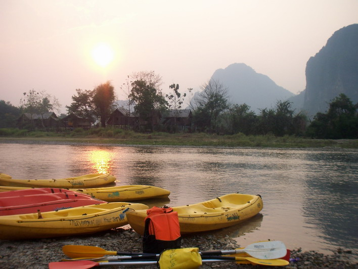 Kayaking in Vang Vien w/ Sunset