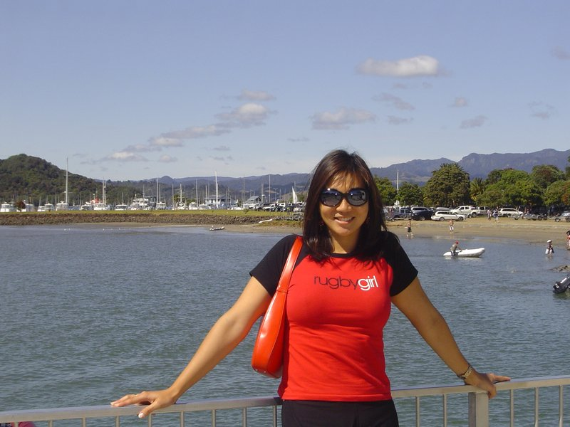 Standing in front of jetty in Whitianga, NZ