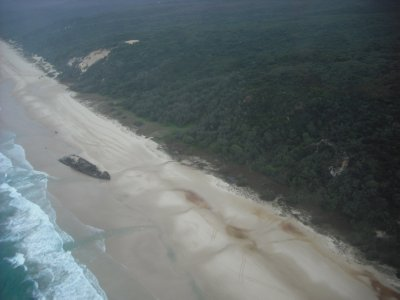 Fraser Island and Maheno Shipwreck from the sky