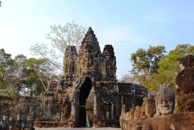 The entry gate into the Angkor Thom complex