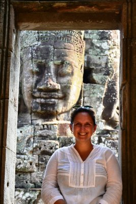 Two lovely faces at Angkor Thom!