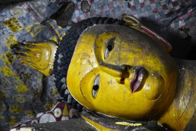 The beautifully decorated head of a reclining Buddha in Dambulla