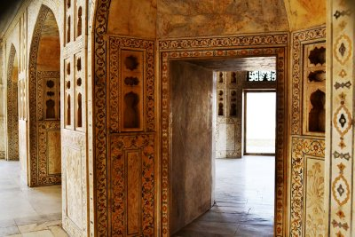 One of the beautifully decorated rooms of the Palace within Agra Fort