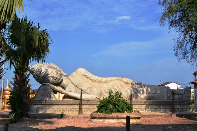 A reclining Buddha image near the Golden Stupa