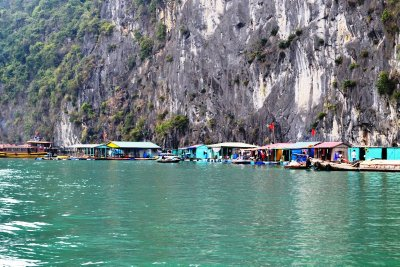 A floating village in Ha Long Bay