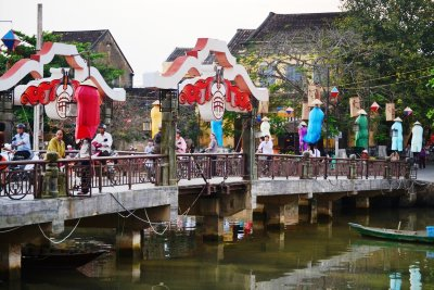 The pretty bridge spanning the river in Hoi An