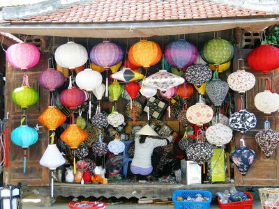 Colours galore in lantern shops, Hoi An