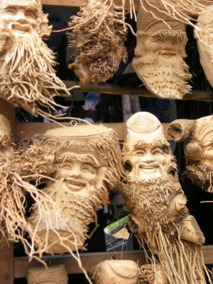 An interesting stall in Hoi An market - sculpted from roots!