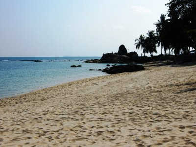 The golden beach outside our hotel in Koh Samui