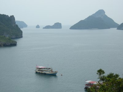 Our boat and the bay from the Lookout in Angthong National Park