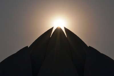 The Lotus Temple as the sun goes down