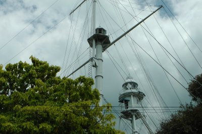The rope ladder up to the Penang lighthouse