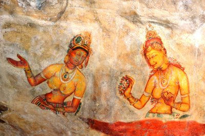 The colourful frescoes at Sigiriya