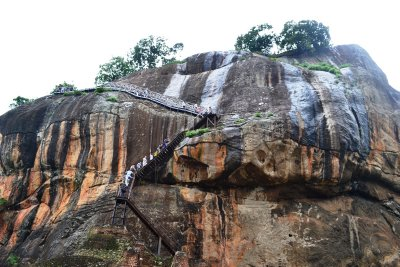 The snaking staircase up to the palace remains on Sigiriya rock
