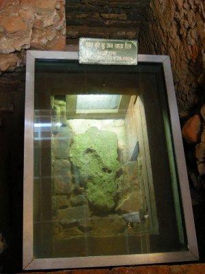 The stone marking the exact birthplace of Buddha