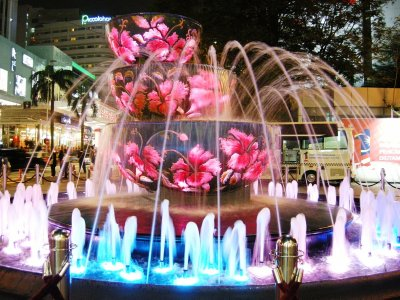 The multi-coloured fountain outside the Pavilion Mall